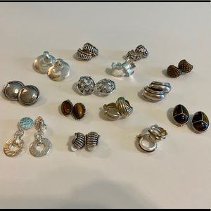 14 sets of silver clip-on earrings